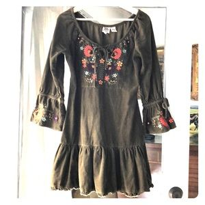 Ivy Jane green embroidered corduroy dress xs